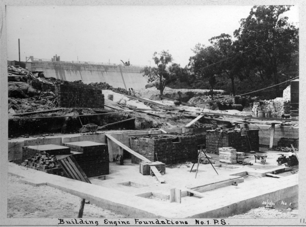 Foundations and dam at No 1 Pump Station, c. 1901