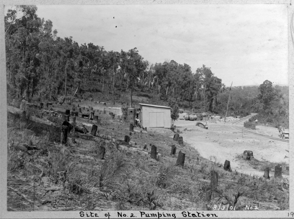 A hilly terrain, deforested — the site of No 2 Pump Station prior to construction, c. 1902.