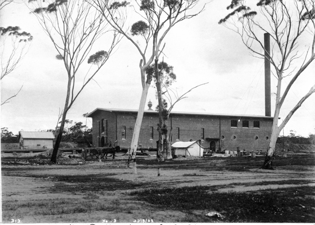 Black & white photo of No 3 Pump Station at Cunderdin.