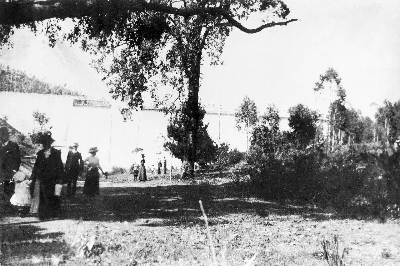 Picnickers at the weir in the early 1900's.