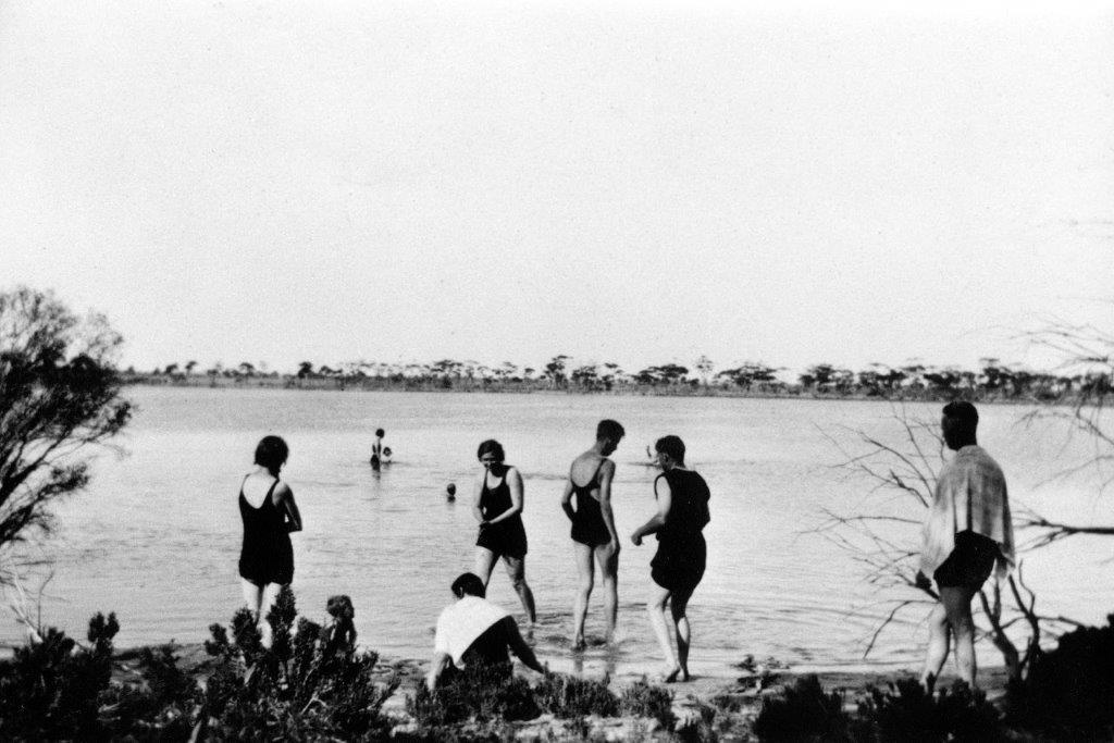 Women and men swimming at Baandee Lakes circa 1930.