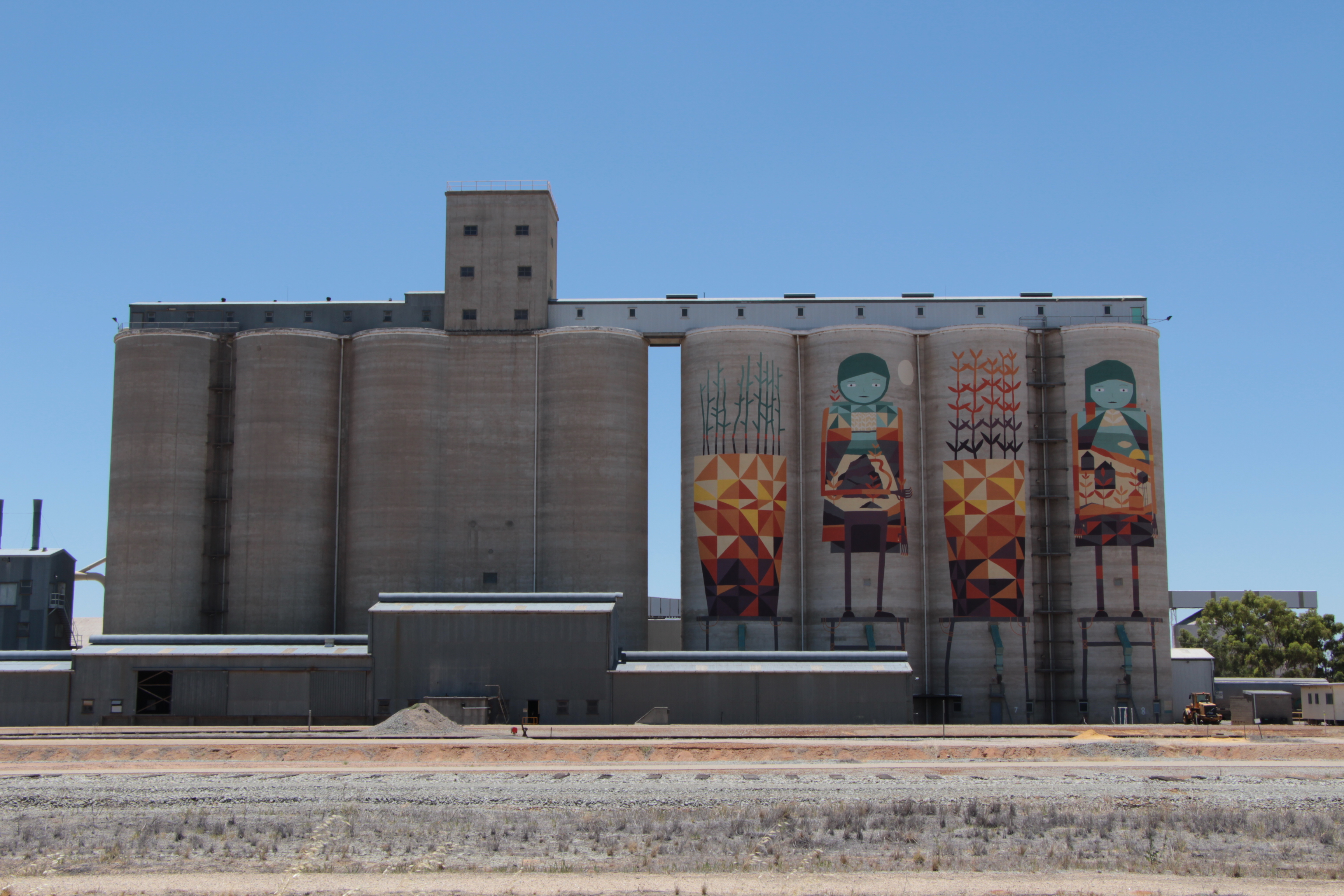 Artwork painted on the silo's on the outskirts of Merredin.